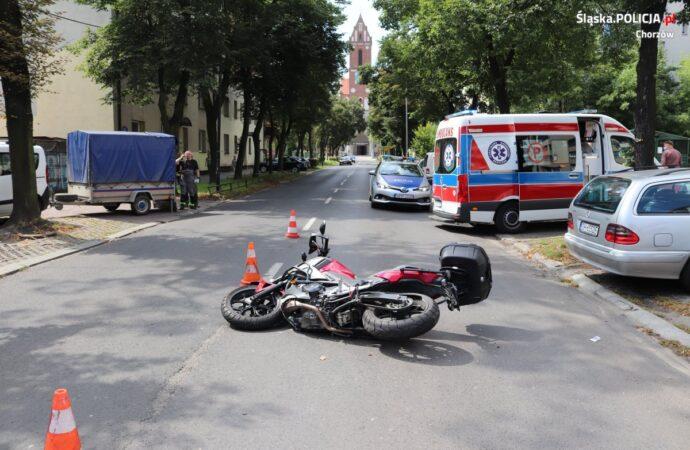 Wypadek z udziałem motocyklisty na ul. Krzyżowej